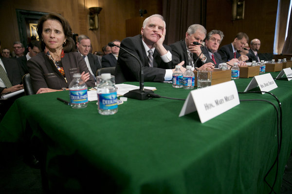 A Senate Banking Committee hearing is seen taking place in Washington, D.C.